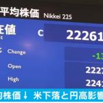 日経平均株価3日ぶり反落